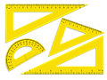 Triangle rulers and protractor Royalty Free Stock Photo