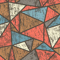 Triangle seamless pattern with wood effect Royalty Free Stock Photo