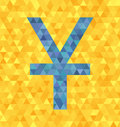 Triangle vector illustration: blue yen/yuan symbol on yellow bac
