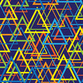 Triangles colored mosaic seamless pattern