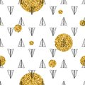 Triangles and golden circles, sequins. Seamless pattern. Geometric, abstract background. Doodle shapes.