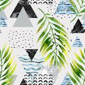 Triangles with palm tree leaves, doodle, marble, grunge textures, geometric shapes in 80s, 90s minimal style.
