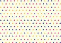 Seamless Geometric Blue, Pink and Yellow Triangles Pattern in Bright Yellow Background