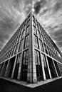 Triangular building a in china beihang university under cloudy sky used the ultra wide len Stock Image