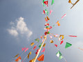 Triangular Colored Flags Fluttering Royalty Free Stock Photo