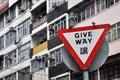 Triangular give way traffic warning board and birds birds,hongkong Stock Photography