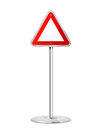 Triangular road sign blank with stand isolated on a white background illustration Royalty Free Stock Images
