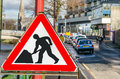 Triangular Roadworks Sign Royalty Free Stock Photo