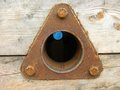 Triangular rusty metal spare part Royalty Free Stock Image