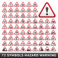 Triangular Warning Hazard Symbols. Big red set Royalty Free Stock Photo