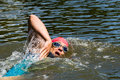Triathlete in front crawl swimming Royalty Free Stock Image