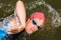 Triathlete in front crawl swimming Royalty Free Stock Photography