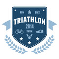 Triathlon badge emblem design Royalty Free Stock Photos