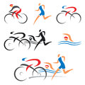 Triathlon cycling fitness icons symbolizing swimming running and vector illustration Stock Photos