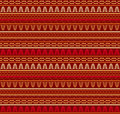 Tribal abstract ornament seamless geometric ethnic pattern elements in golden and red colors fancy multicolored background vector Stock Photos