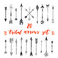 Tribal arrows set. Different native american arrows collection. Decorative vector stylized illustration of booms. Design elements