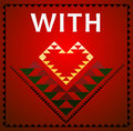 tribal art with love red heart card