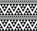 Tribal aztec abstract seamless pattern vector ornament ethnic in black and white Royalty Free Stock Photography