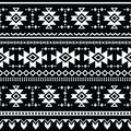 Tribal aztec seamless pattern print vector ornament white ethnic on black backgorund Royalty Free Stock Photo