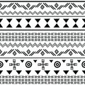 Tribal black on white seamless repeat pattern