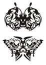 Tribal butterfly art vector black on a white background ready for a tattoo an embroidery stickers cutting an engraving design on t Royalty Free Stock Image