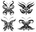 Tribal butterfly set Royalty Free Stock Photo
