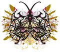 Tribal butterfly wings with colorful floral splashes Royalty Free Stock Photo
