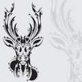Tribal deer head tattoo Royalty Free Stock Photo