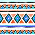 Tribal design. Seamless background with tribal pattern in boho style. Watercolor Royalty Free Stock Photo