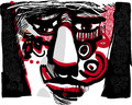Tribal face artistic drawing illustration of man with ethnic tattoos Stock Photo