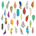 Tribal flat feather different style bird vintage colorful ethnic set and isolated hand drawn element decorative drawing