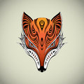 Tribal fox colorful head design Stock Photo