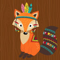 Tribal fox on wooden background