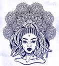 Tribal Fusion Afterican or African Aberican diva. Beautiful black girl with ornate crown.