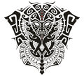 Tribal God with Alpha and Omega symbol vector illustration Royalty Free Stock Photo