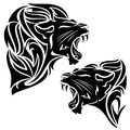 Tribal lion roaring and panther black and white design Royalty Free Stock Images