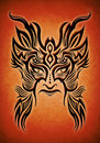 Tribal mask tattoo illustration