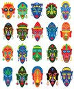 Tribal mask vector African face masque and masking ethnic culture in Africa illustration set of traditional masked