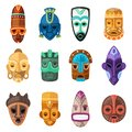 Tribal mask vector cartoon african face masque and masking ethnic culture in Africa illustration set of traditional