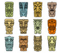 Tribal masks of idols and demons for religious or ethnic design Stock Photography