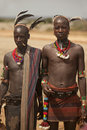 Tribal men in the Omo valley in Ethiopia, Africa Royalty Free Stock Image