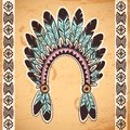 Tribal native american feather headband on vintage background Royalty Free Stock Photos