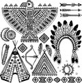 Tribal native american set of symbols vintage Stock Photos