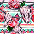 Tribal pattern - animal skull. Seamless background with trendy tribal design. Watercolor Royalty Free Stock Photo