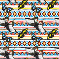 Tribal pattern with butterflies. Seamless background - native tribal ornament. Watercolour