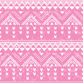 Tribal pattern pink aztec print old grunge vector seamless retro ornament vintage ethnic in white on background Stock Photography