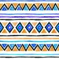 Tribal pattern. Seamless background - vintage boho ethnic design. Watercolor