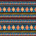 Tribal pattern. Seamless pattern - tribal ornament in geometric style with triangles and stripes. Watercolor