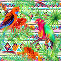 Tribal pattern, tropical leaves, parrot birds. Seamless ethnic background. Watercolor
