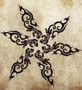 Tribal salamander sketch of tattoo art handmade illustration Stock Photos